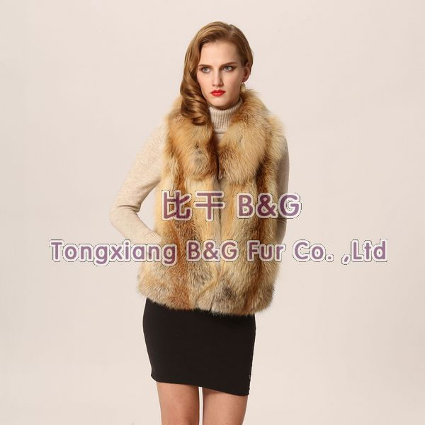 BG23512 The Spring Genuine Fox Fur Waitstcoat For Women Casual Vest M,L,XL XXL,XXXL OEM Wholesale/Retail(China (Mainland))