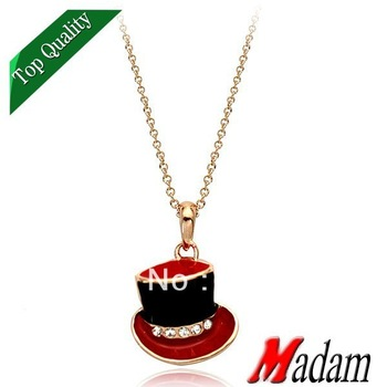 18K gold plated fashion jewelry 8720310042ab lovely red brim hat pendant necklace made with Austrian crystal,Christmas gift