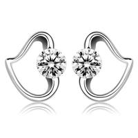 100% чистый 925 стерлингового серебра платины серьги изысканные ювелирные изделия ge057s