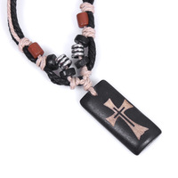 NA015 Wholesale Bone  Caribbean style Cross Religious Pendant Rope Necklace Jewellery For Man