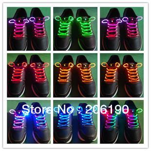 Hot sell 20pcs/lot Disco Flash LED Light Up Colorful bootlace shoestring,flash shoelace,LED shoelace + Free Shipping