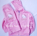 Baby girls hello kltty Hoodies Suits(hoody + pants) velvet clothing set spring/autumn cartoon Track suits sports wear