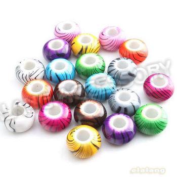 150pcs/lot New Fashion Assorted Round Shape European Beads Black Stripes Acrylic Big Hole Beads Fit Jewelry Making 152209