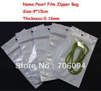 Size:9*15cm,200pcs/lot,Pearl White Zipper Plastic bag,Pearl film Plastic bag,Polybag,Plastic Package for Gifts