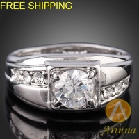 Free shipping Arinna silver Crystal petal GP Fashion Ring Rhinestone Crystals  element  ring J2581