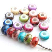 150pcs/lot Wholesale Round Shape Mixed Color European Beads Acrylic Big Hole Beads Hot Charms Beads Fit Bracelet DIY 152220
