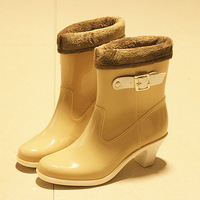 Free shipping!2013 Fashion vivi rainboots high-heeled dual-use cotton  women's rain boots
