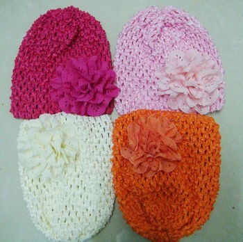 New arrived!Fashin newborn baby hat Skullies&Beanies cap with a cute and beautiful flower by handmade 4 colors hat Candy color