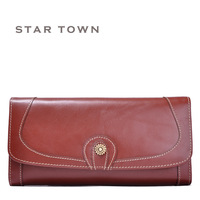 Exquisite christmas gift - oil leather women's long design chromophous genuine leather wallet zipper clutch
