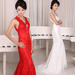 V-neck train wedding dress/formal dress/lace slim bridal gown(China (Mainland))