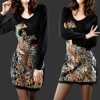Autumn and winter HENG YUAN XIANG style women's sweater wool dress plus size medium-long mm sweater dresses