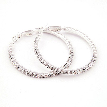 Min.order is $10 (mix order) 11B58 size : 4mm\5mm\6mm rhinestone hoop earrings jewelry wholesale free shipping