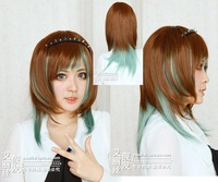 Brown and green mixed straight wig + gift