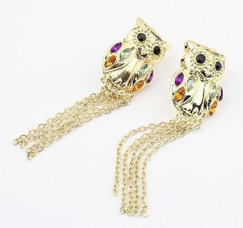 Большое продвижение по службе 11.11 мода панк преувеличены большой сова кисточкой серьги, горячая распродажа серьги