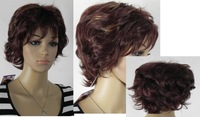 new brown mixed short curly cosplay full wig +gift