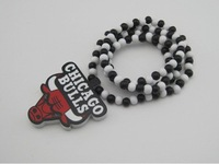 GOOD WOOD Necklace CHICAGO BULLS Black White Beaded Rosary Hip Hop Style Jewelry Best Gift MT-051
