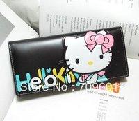 On sale Hello Kitty cute cartoon embossed zipper long wrist Wallet kawaii purse