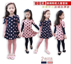 Baby girls suit kids children 2 pc set dress + legging velvet dot girls suit(China (Mainland))