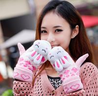 Free Shipping winter rabbit ears buck gloves women's thickening yarn animal Mittens thermal girls trophonema Glove