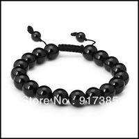 1X SHB1309 Gift Box+10mm Mens Adjustable 18 Pcs Black Obsidian Mala Power Bead Bracelet Fashion Shamballa Jewelry Mini Order $15