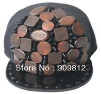 Free Shipping 2013 New Style, Wooden sewing flat brimmed hat, Punk rivet hip-hop cap, Bboy caps, black 10pcs/lot