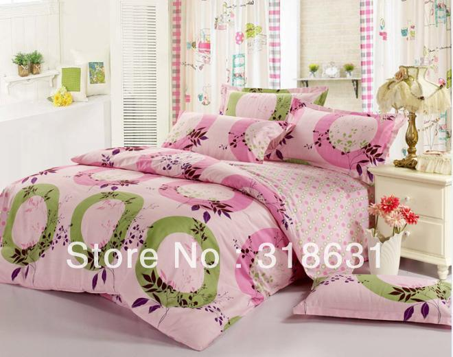 set bed linen bedroom set full queen 4pcs round corner sheet ems free