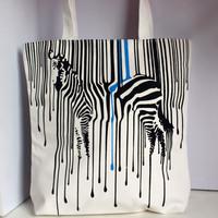 White zebra print style women's casual one shoulder canvas bag
