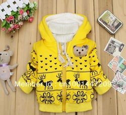 Free shipping! Retail kids kacket Children's cartoon fawn cashmere winter coat sleeve fashion baby coat girl's coat baby jacket(China (Mainland))