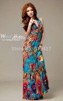 2014 spring/summer ladies' evening dress aesthetic bohemia colorful peacock dress halter-neck beach full dress free shipping