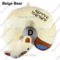 Toddler Car Booster Seat Travel Neck Saver Necksaver Protector Head Support Cartoon Animal Pillow--Beige Bear