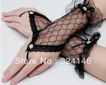 Free shipping  New Bridal gloves Wedding Gloves fingerless Short black gloves Wholesale Retail, mesh/ tulle lace glove retail