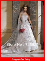 BG57 white with silver embroidered swarovski crystal wedding dress