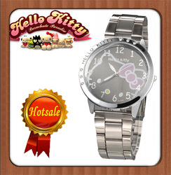 Nice Hello Kitty Lady's Wrist Watch Indicate Time Quartz Dial Diamond Stainless Steel Band(China (Mainland))