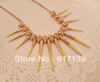 Fluorescent Rivet Spike Link Chain Statement Necklace