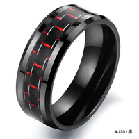[free shipping] Accessories 2012 gift carbon fiber ceramic ring wj201 black