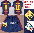 can customed! 2013 best quality Barce Messi #10 Pedro # 17 Soccer Jersey kit soccer uniform 100% emboidery logo V3 patch free(China (Mainland))