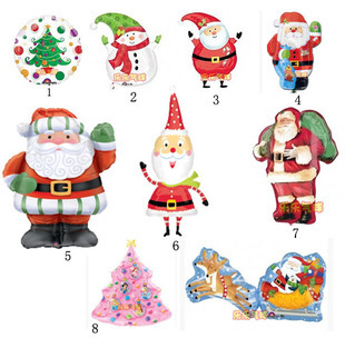 Lots of Christmas tree snowman Christmas balloon with aluminum foil membrane in the New Year free shipping(China (Mainland))