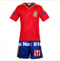 Free shipping ! Newest style best quality Spain home red soccer uniform ,soccer kit , foootball kit , football uniform