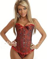 женщины близких Сексуальное белье атласный корсет overbust красный 803
