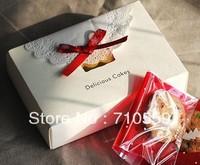 cake  box Bamboo grain hot silver white gift box with macaron