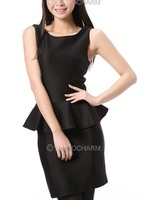New Popular OL Vintage Temperament Sexy Falbala Womens Sleeveles Frill Peplum Dress Free Shipping