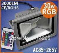 1 integrated high power LED Waterproof RGB 30W 2300LM AC85-265V Warm White/Cool White LED Flood light Outdoor corn bulb DHL/EMS
