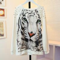 flavor raglan sleeve rivet decoration silks and satins tiger print patchwork thick sweatshirt
