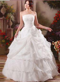 82 vestido de noiva 2014     fashionable romantic pleat flower princess  ruffles  wedding dress bride bridal gown dresses