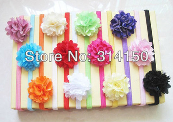 FREE SHIPPING--baby girl headwear children hair jewelry infant floral head band pretty flowers design stretch 12 colors 2pcs/lot