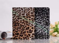 50pcs/lot New Stand Leopard Leather Case for iPad mini free shipping