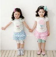 children's/kids  summer clothing cotton flower top tee + dots skirt   2 pces set  girls 2 colors  XZQ