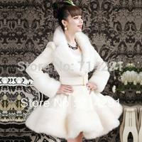 Autumn and winter white artificial rex rabbit hair fox fur skirt overcoat outerwear