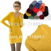 Free shipping Women's plus size  dress medium-long o-neck thermal slim  basic thick sweater