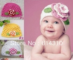 Cute Flower Pattern Baby Knit Hat,Infant Beanie Hat,Kid Wool Crochet Cap,Free Shipping(China (Mainland))
